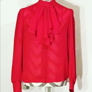 Vintage Red Victorian Ruffle Collar Blouse